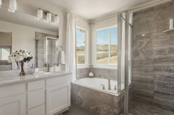 completed and furnished master bathroom built by McArthur Homes