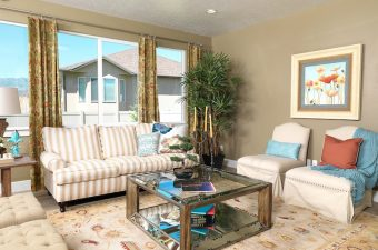 completed and furnished living room built by McArthur Homes