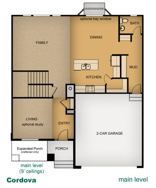 layout of Cordova home built by McArthur Homes
