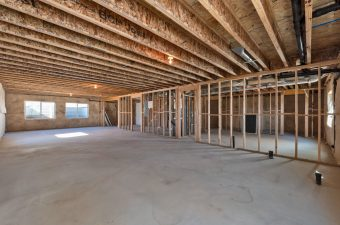 Unfinished basement in the Monterey floor plan built by McArthur Homes