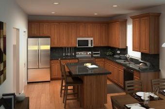 a completed and furnished kitchen built by McArthur Homes