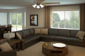 a completed and furnished family room built by McArthur Homes