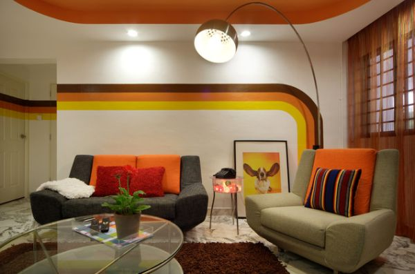 1970s living room with curved stripes on the wall