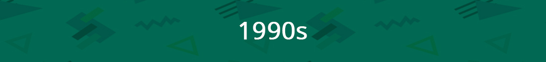 Green banner that reads 1990s
