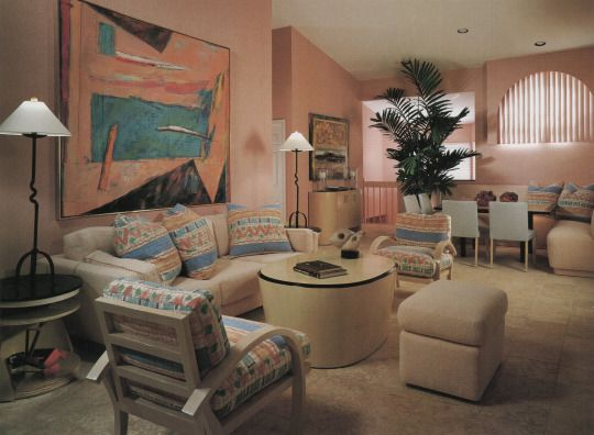 Living room with pastel colors in the 1980s