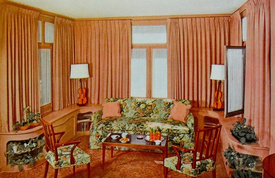 Living room in the 1940s with pleated curtains