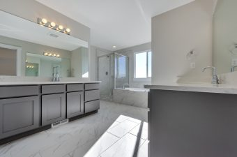 Master bathroom in the Lindsay floor plan built by McArthur Homes